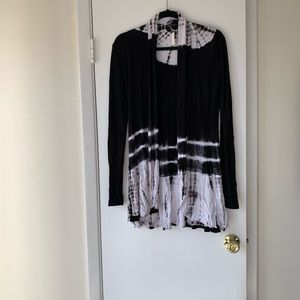 NWT black/white tie dye cardigan.  Brand new
